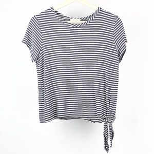 Olivia Rae Blouse Striped Cropped Knot Size Large